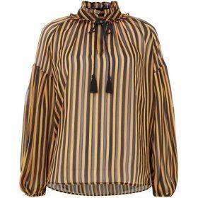 Biba Yellow lurex stripe blouse