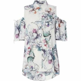Roman Originals Floral Print Cold Shoulder Shirt Top