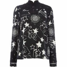 Biba Mono constellation print battenberg blouse