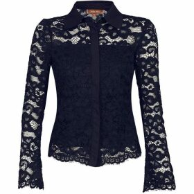 Jolie Moi Scalloped Lace Button Front Blouse