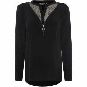 Salsa Long sleeve mesh detail zip up blouse