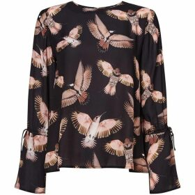 Twist and Tango Tracy bird print flute sleeve blouse