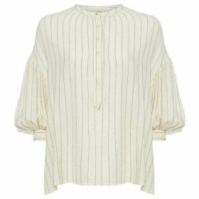 Sessun Collarless artiste stripe blouse