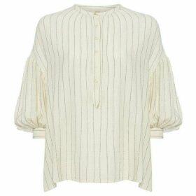 Sessun Collarless artiste stripe blouse
