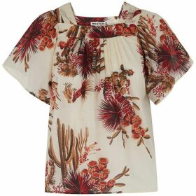 Whistles Cactus Square Neck Blouse