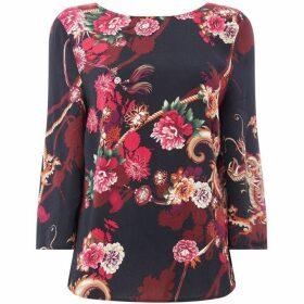 Oui Floral tie back blouse