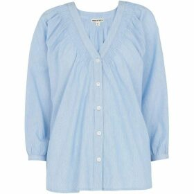 Whistles V Neck Pintuck Stripe Shirt