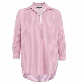 French Connection Bega Stripe Dip Hem Shirt