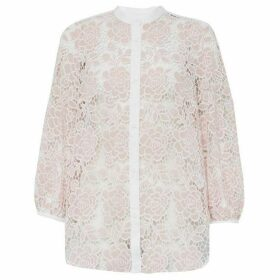 French Connection Chiana Lace Puff Sleeve Shirt