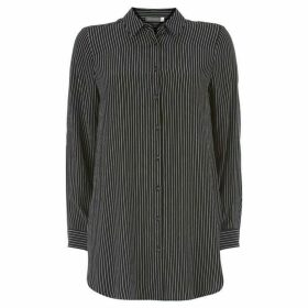 Mint Velvet Black Striped Longline Shirt