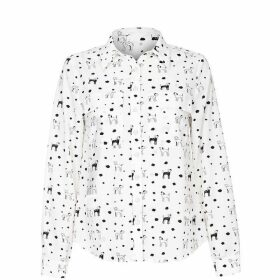 Yumi Dalmatian Dog Print Long Slevees Shirt