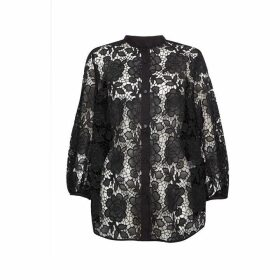 French Connection Chiania Lace Puff Sleeve Shirt