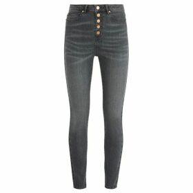Mint Velvet Joliet Grey Buttoned Jean