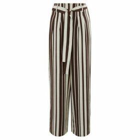 Warehouse Stripe Linen Wide Leg Trousers