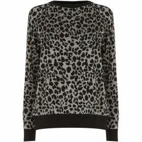 Warehouse Leopard Jacquard Sweatshirt