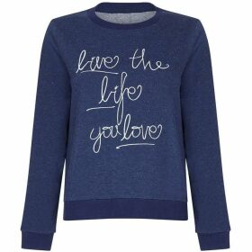 Yumi Embroidery Slogan Sweatshirt