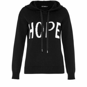 Hallhuber Knit Hoodie With Inlay Slogan