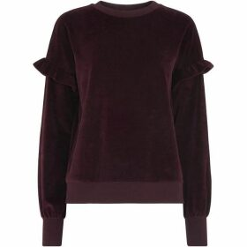 Whistles Velour Frill Sleeve Sweatshirt