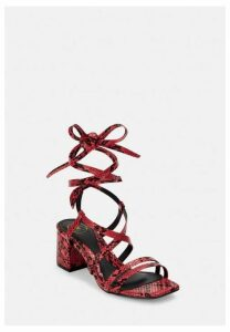 Red Snake Two Strap Lace Up Mid Heel Sandals, Red