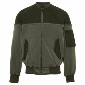 French Connection Patchwork Carbon Wax Coating Bomber Jacket