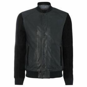 Armani Exchange Leather & Suede Varsity Jacket