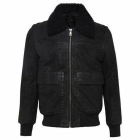 French Connection Washed Leather Sheepskin Jacket