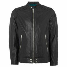 Diesel Leather Biker Shoulder Quilted Jacket