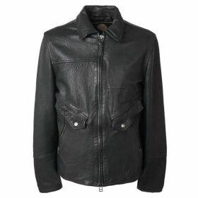 Pretty Green Leather Zip Through Jacket