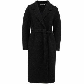 Mint Velvet Black Belted Textured Coat