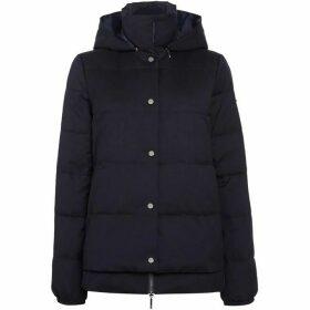 Armani Jeans Short padded hooded jacket in blu notte