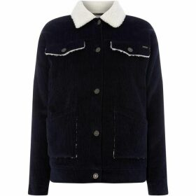 Noisy May Isa Cord Jacket With Faux Fur Collar