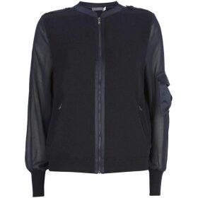Mint Velvet Navy Knitted Bomber Jacket