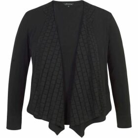 Chesca Jersey Shrug with Mesh Squares Trim