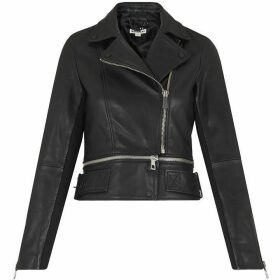 Whistles Buckle Leather Biker Jacket