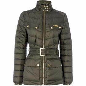 Barbour International Gleann Quilted Belted Jacket With Stand Collar