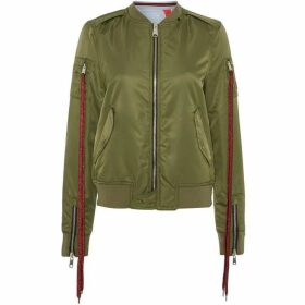 Replay Reversible Satin Bomber Jacket With Patches