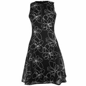 DKNY Fit Flare Zip Detail Dress