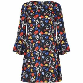 Yumi Curves Retro Floral Flute Sleeve Tunic Dress