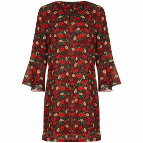Yumi Retro Floral Print Fluted Sleeve Tunic Dress