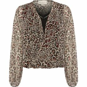 Damsel in a Dress Caley Animal Print Wrap Blouse