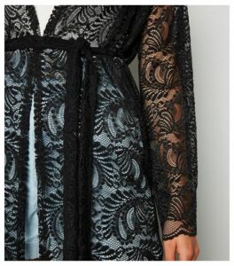 Carpe Diem Black Lace Belted Cardigan New Look