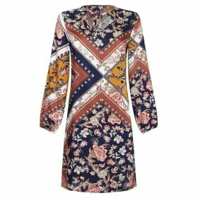 Mela Tie Scarf Print Tunic Dress