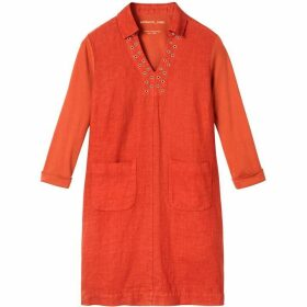 Sandwich Linen Dress With Eyelet Detail