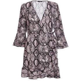 Quiz Pink And Black Snake Print Wrap Dress