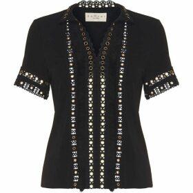 Damsel in a Dress Kara Eyelet Fringe Jersey Top