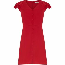 Oasis Crepe Frill Button Dress