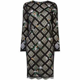 Karen Millen Check Lace Pencil Dress