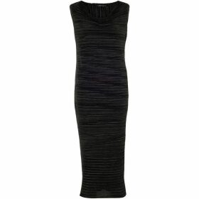 Chesca Black Sleeveless Crush Pleat Dress