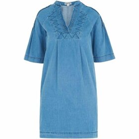 Whistles Denim Pintuck Detail Dress