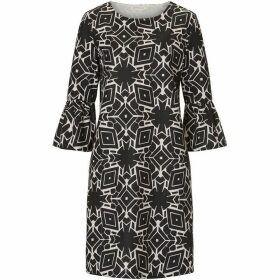 Betty Barclay Monochrome bell sleeved dress